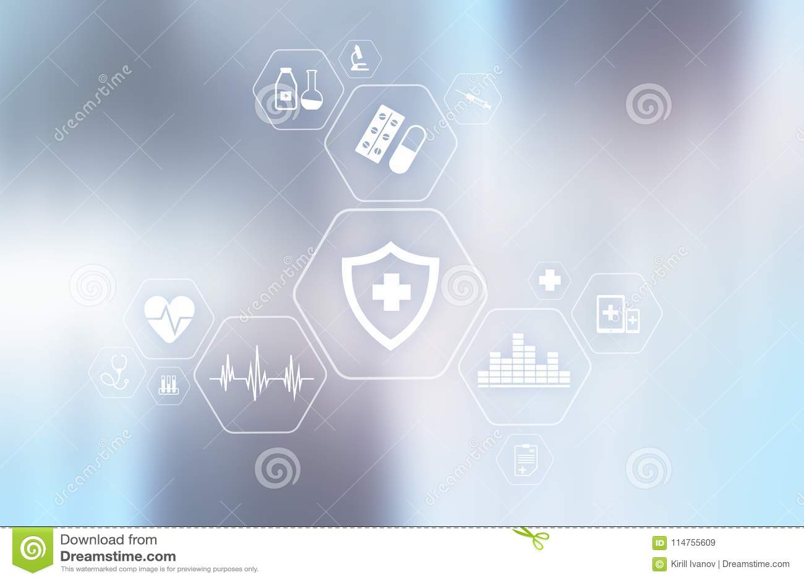 MEDICINSKT begrepp Vård- skydd Modern teknologi i medicin