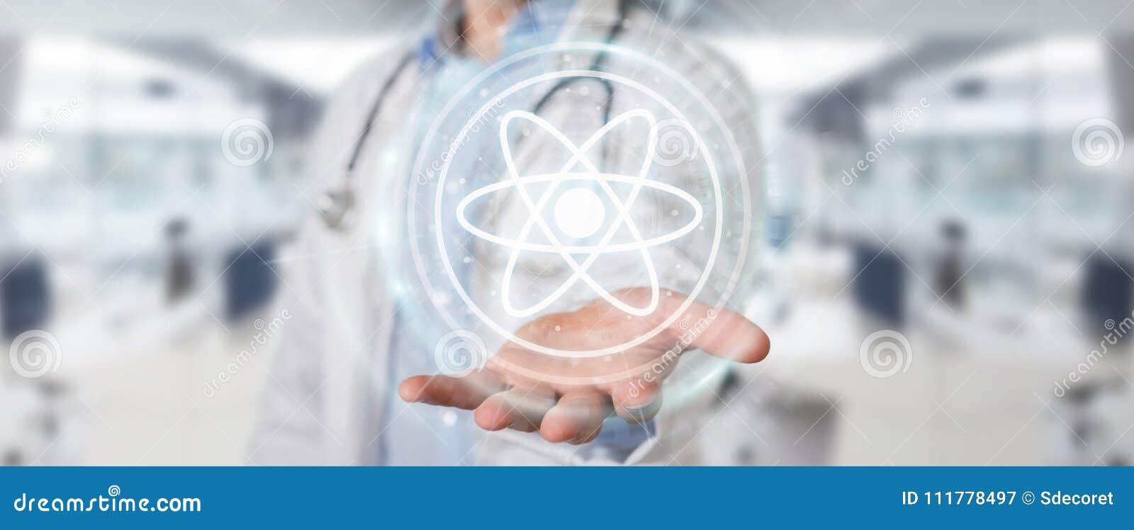 Medico che usando la rappresentazione digitale dell interfaccia 3D della molecola