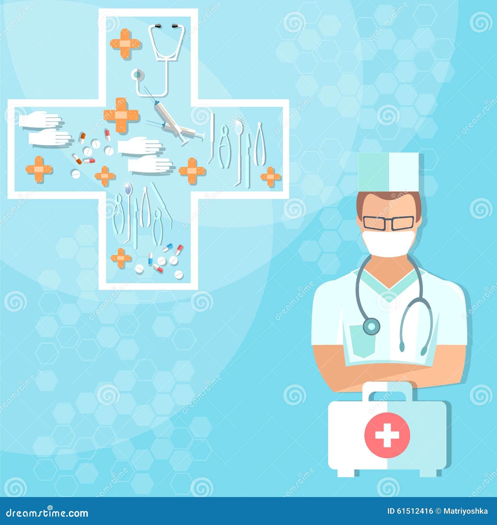 Medico con la sanità dello stetoscopio e gli oggetti medici della medicina