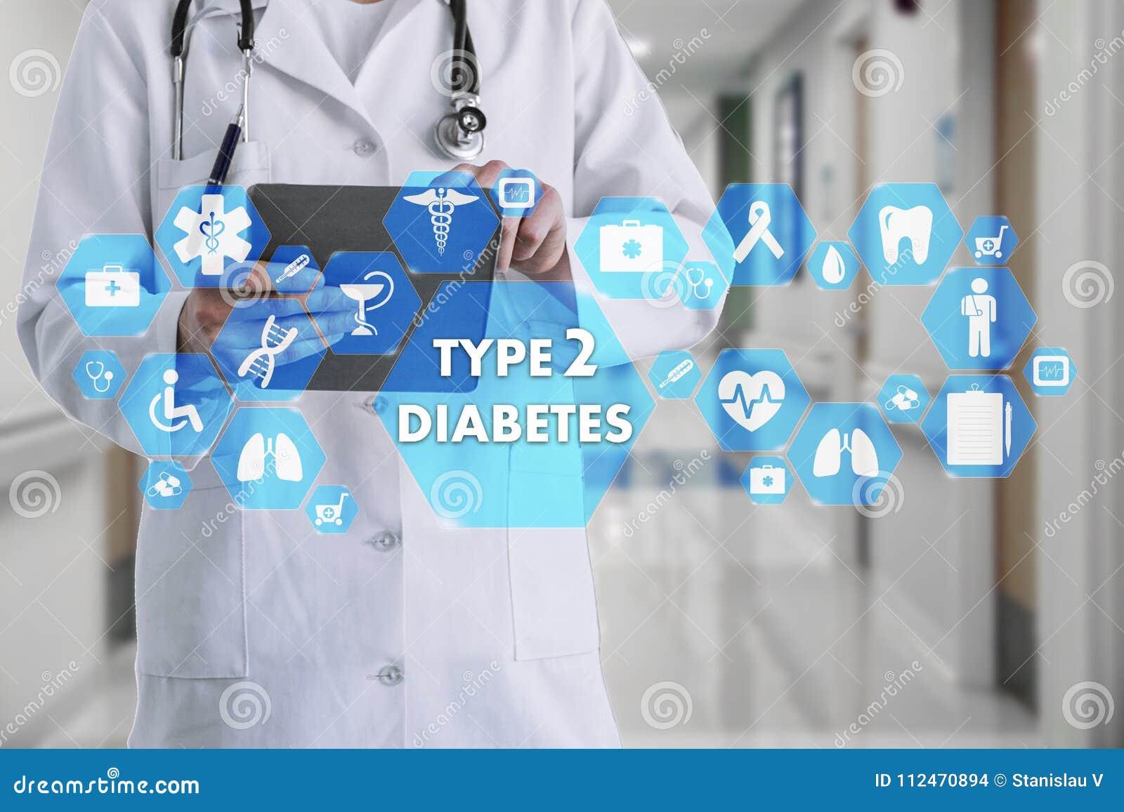 Medico con lo stetoscopio e l icona del diabete di tipo 2 in Medi