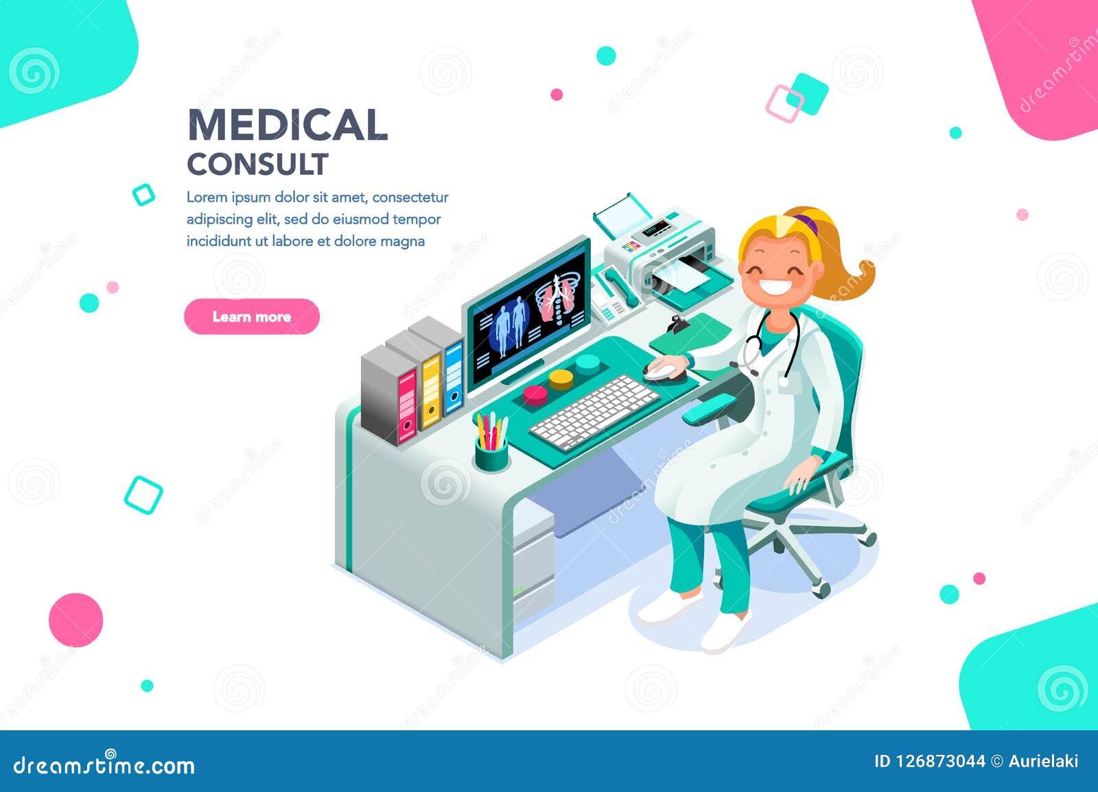 Medico consulti il modello di Exam Web Page dello specialista