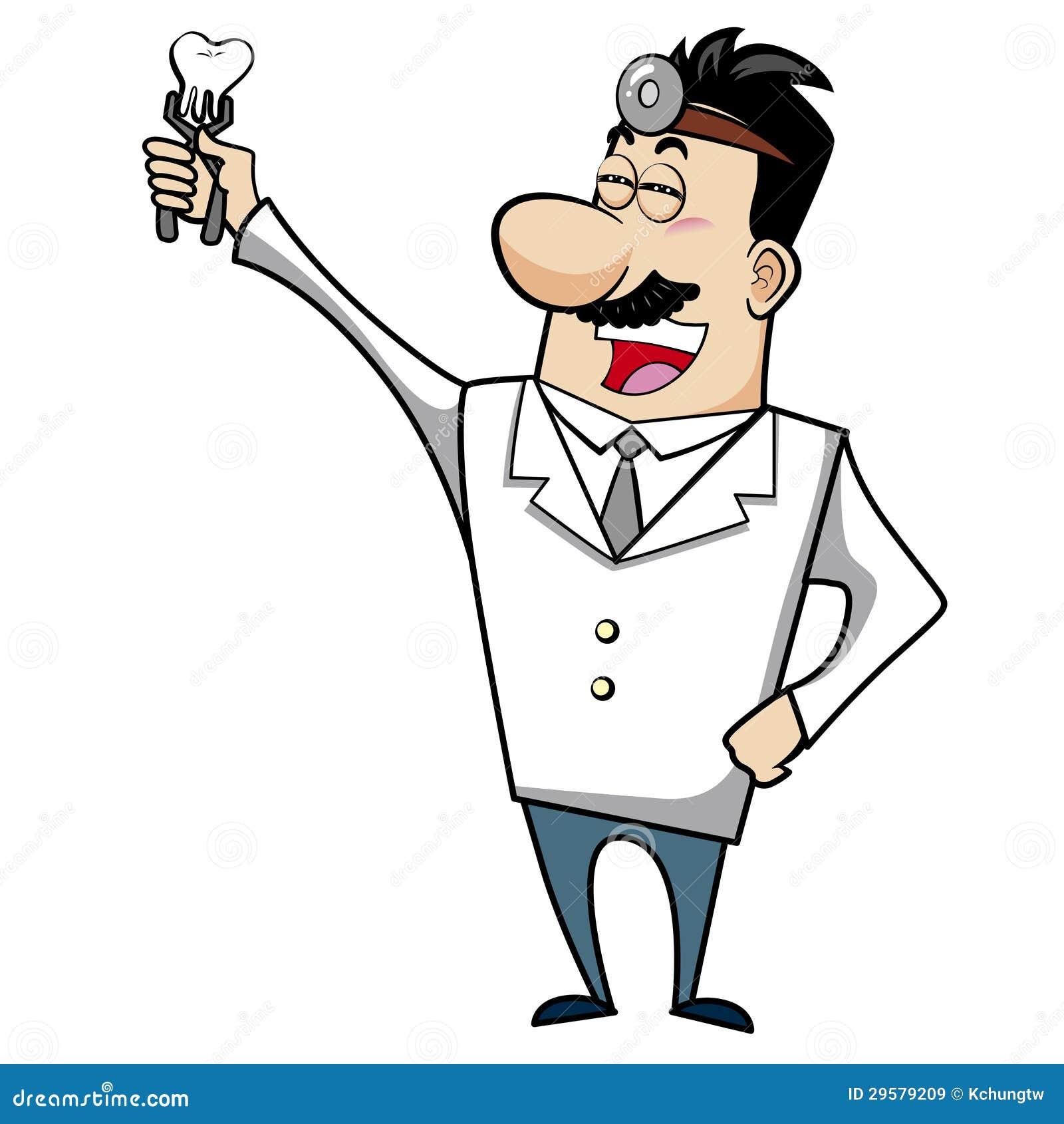 Medico del fumetto con il dente illustrazione vettoriale