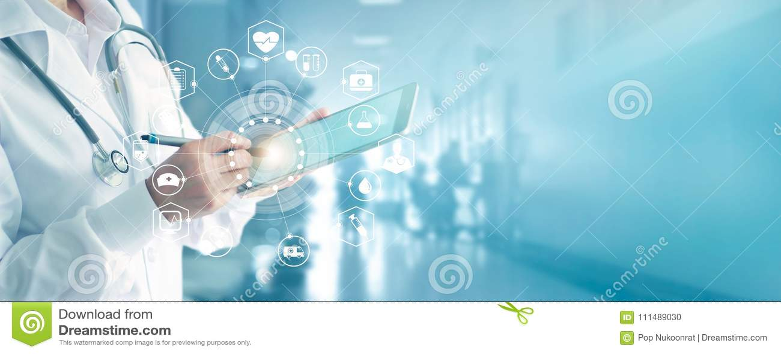 Medico della medicina con lo stetoscopio che tocca la rete medica delle icone