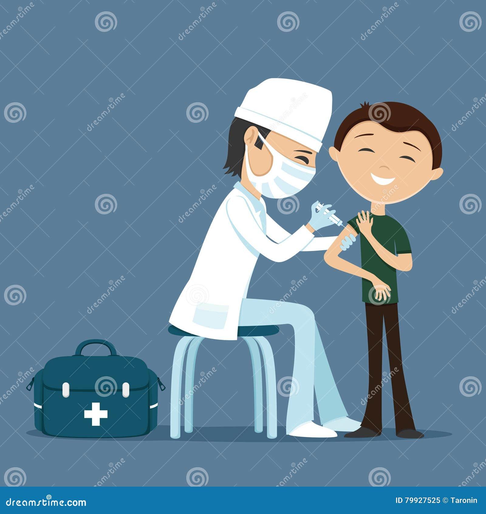 Medico fa la vaccinazione