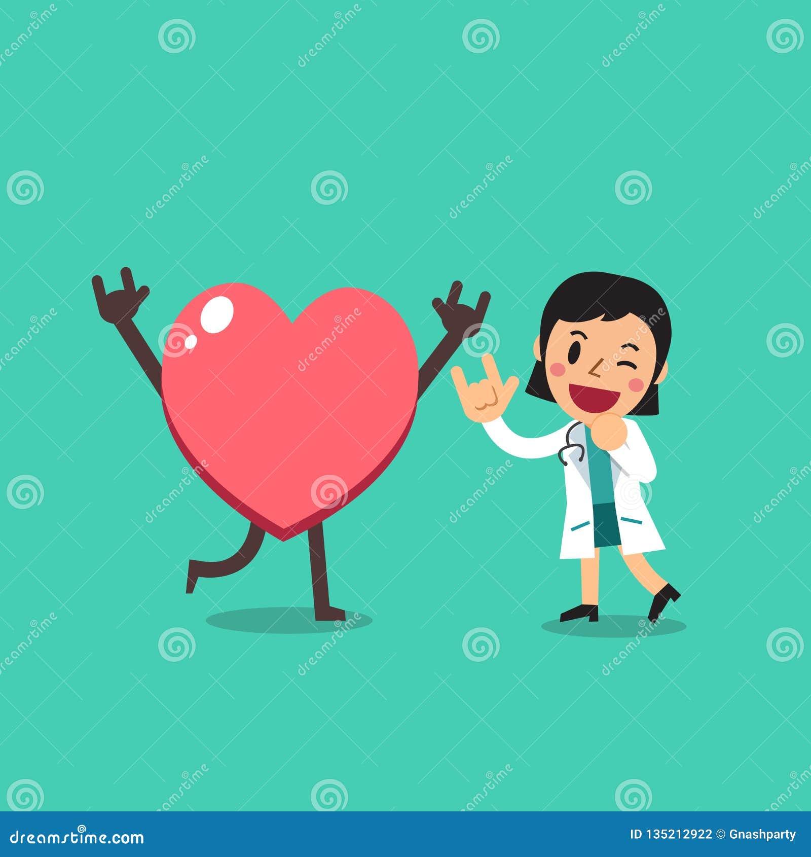 Medico femminile del personaggio dei cartoni animati di vettore con grande cuore