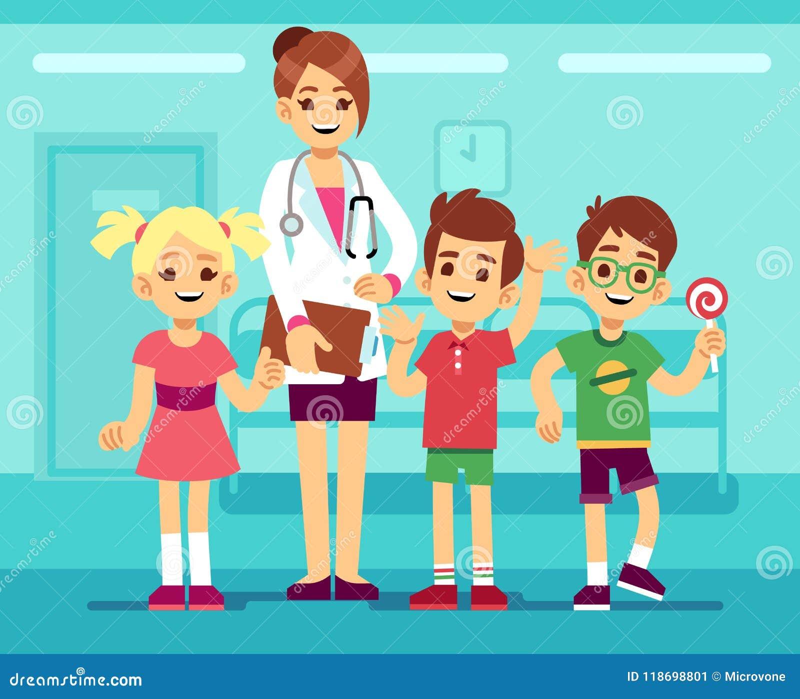 Medico femminile sveglio del pediatra e ragazzi e ragazze in buona salute felici in ospedale Concetto di vettore della sanità dei