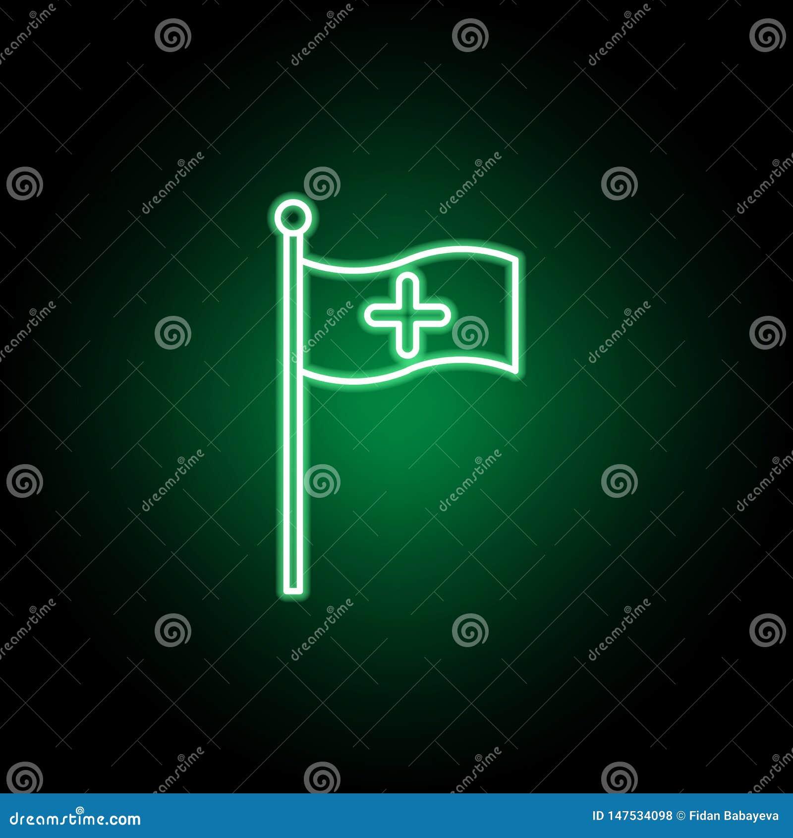 Medico, icona della bandiera nello stile al neon Elemento dell illustrazione della medicina I segni e l icona di simboli possono