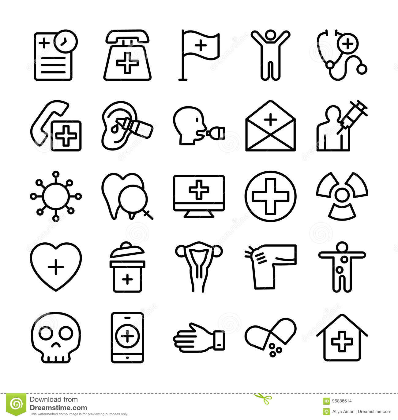 Medico, salute e linea icone 12 dell ospedale di vettore