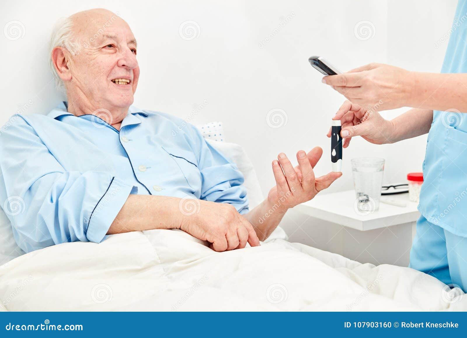 Medida de la glucosa en sangre en pacientes con diabetes