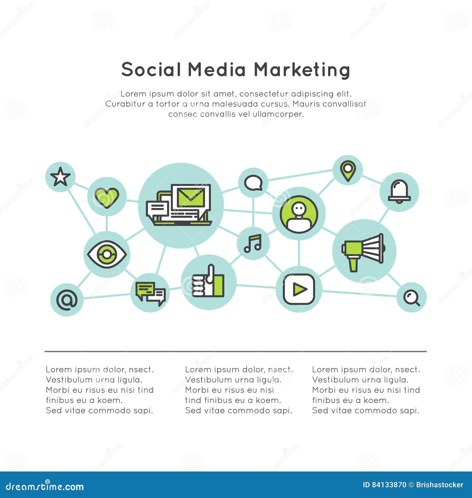 Medien des Sozialen Netzes, die Konzept vermarkten