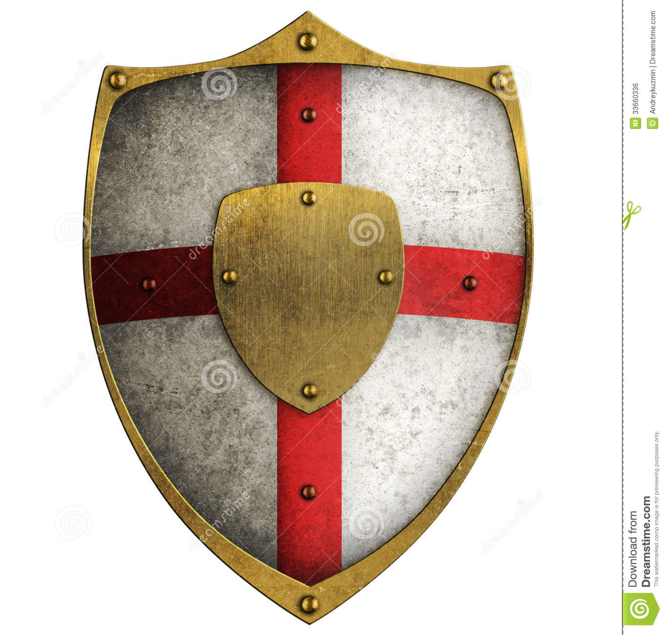 Medieval Aged Metal Crusader Shield Isolated Royalty Free ...