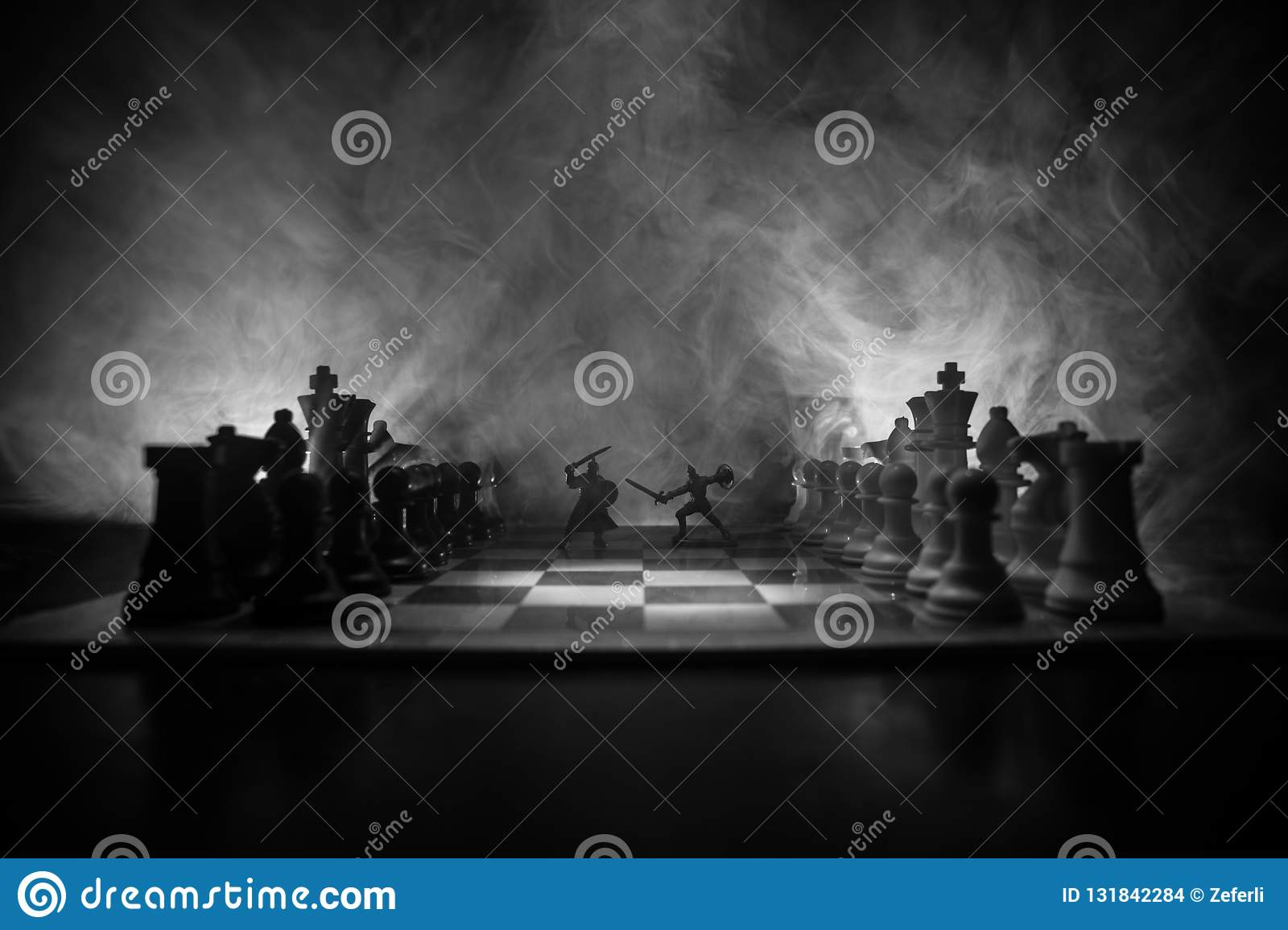 Medieval battle scene with cavalry and infantry on chessboard. Chess board game concept of business ideas and competition and