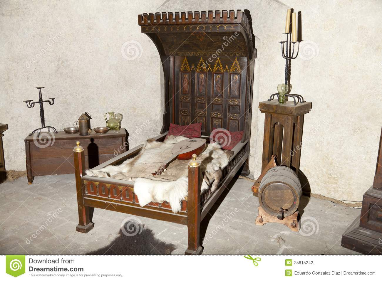 Medieval Bed Stock Photo Image Of Candelabra Noble 25815242