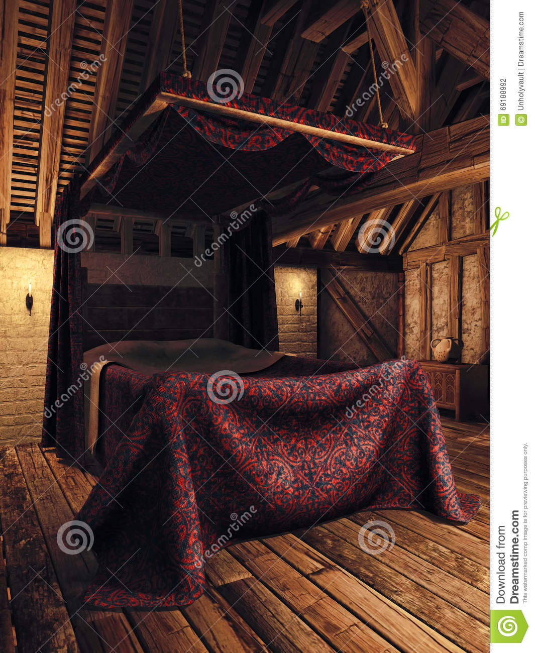Medieval Bedroom Medieval Bedroom With Candles Stock Illustration Image 69188992