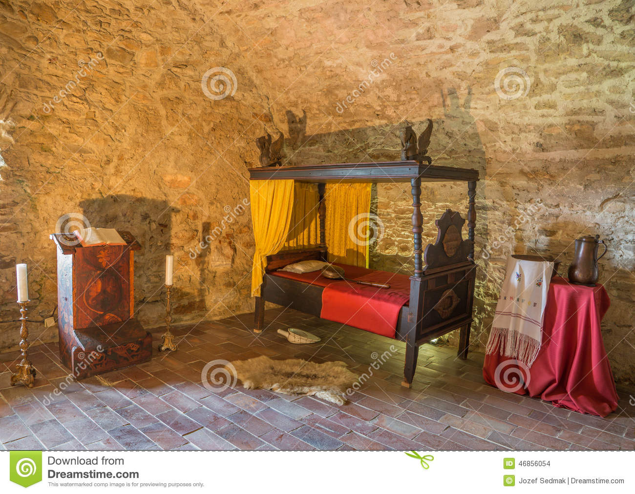 Download The Medieval Bedroom In The Spissky Castle. Stock Photo   Image Of  Castle,