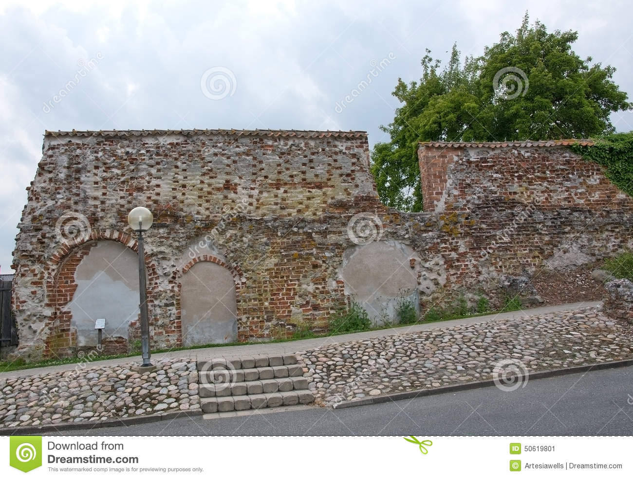 Medieval brick wall stock image  Image of construction