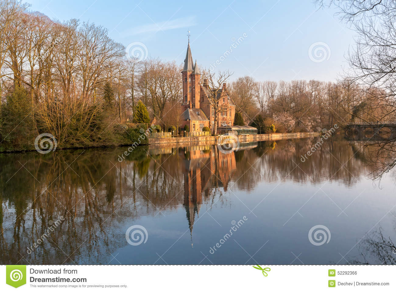 Comstock Park (MI) United States  city photos : Medieval Building Castle On Love Lake In Bruges, Belgium Stock Photo ...