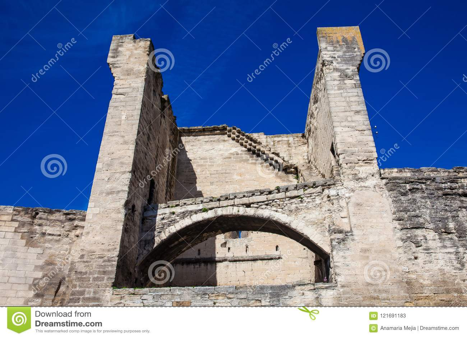 Medieval built Avignon city stone wall