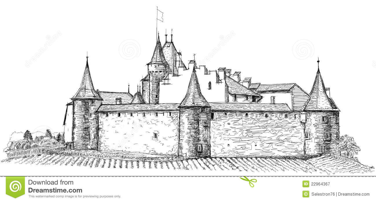 how to draw a realistic castle