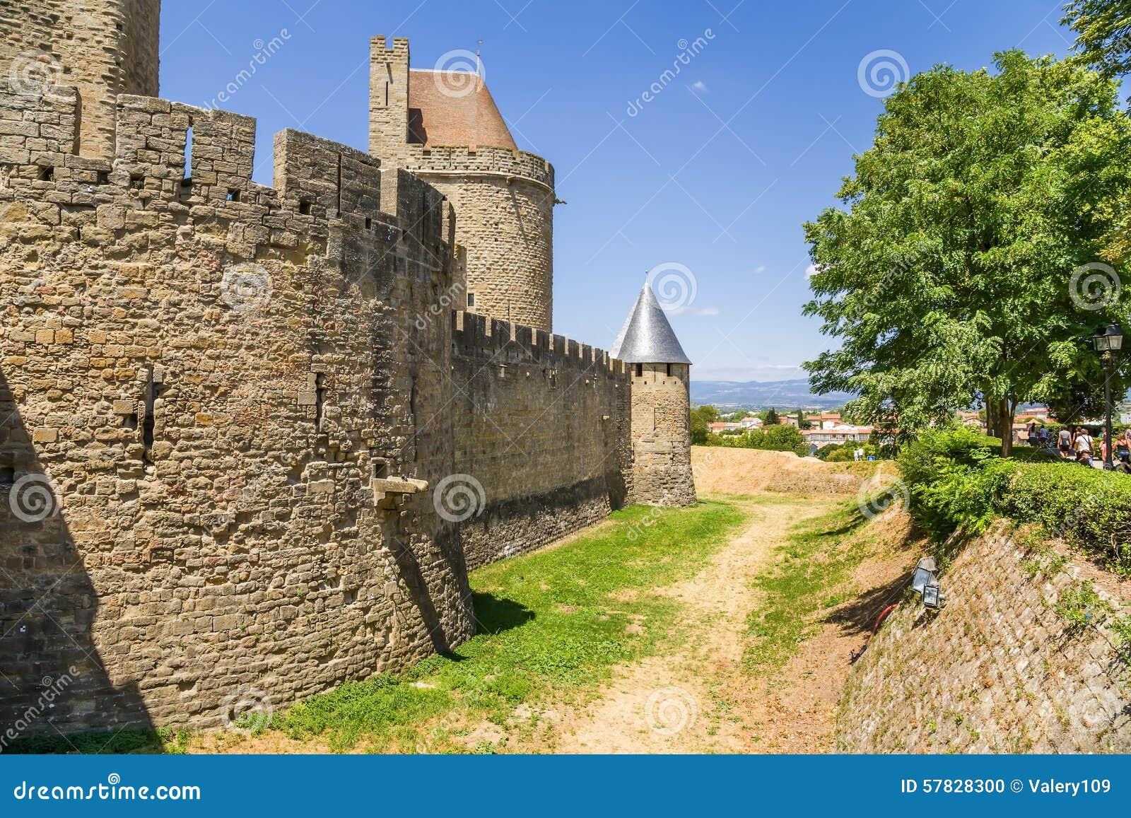 medieval castle in carcassonne france unesco list stock photo image 57828300. Black Bedroom Furniture Sets. Home Design Ideas
