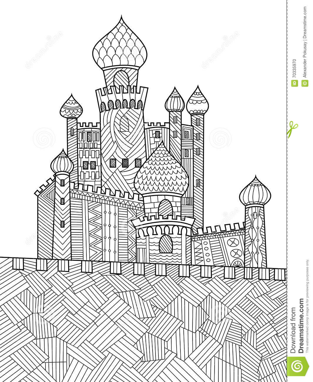Coloring book landmark for adults - Medieval Castle Coloring Book For Adults Vector