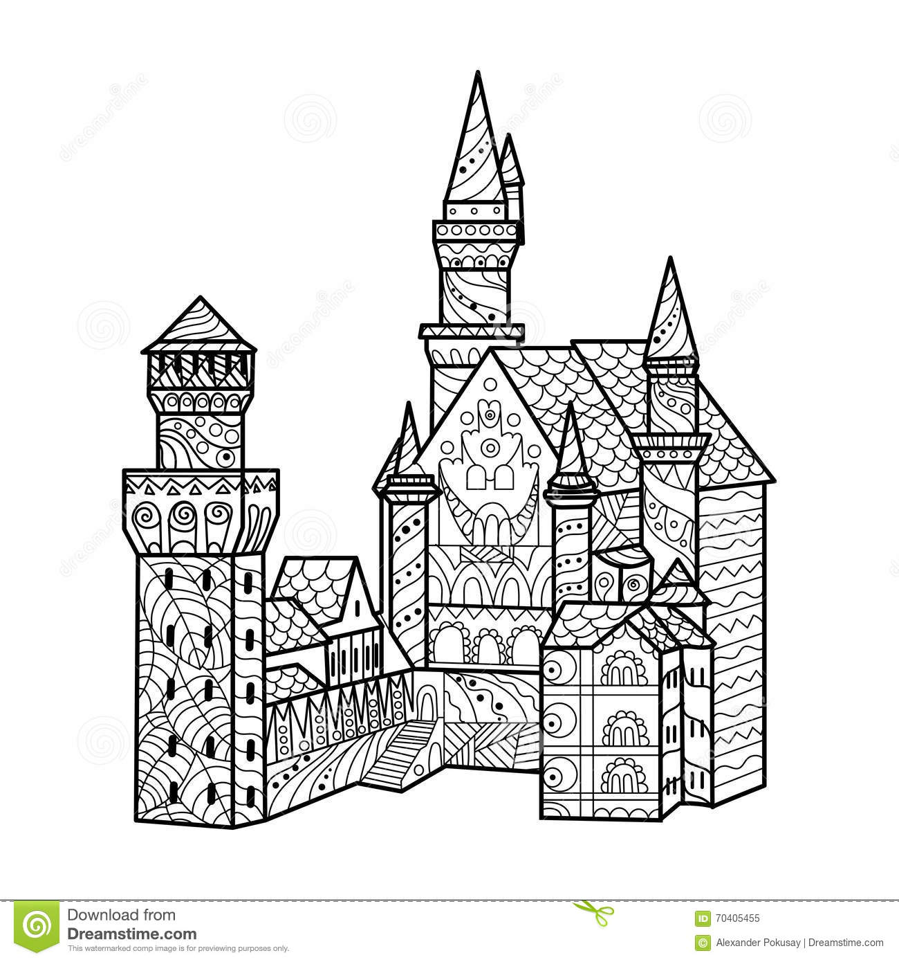 Medieval Castle Coloring Book For Adults Vector Stock Vector ...