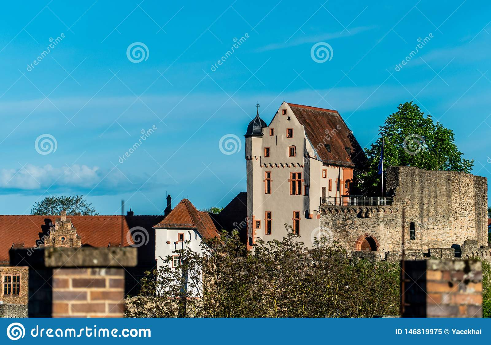 Bavarian monumens. Knight`s castle. A medieval castle on the hill.