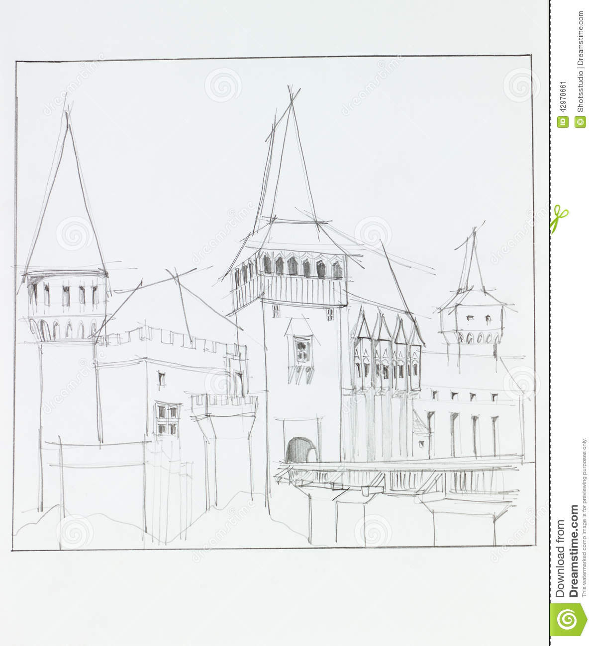 The Medieval Castle In Hunedoara Romania Stock Illustration