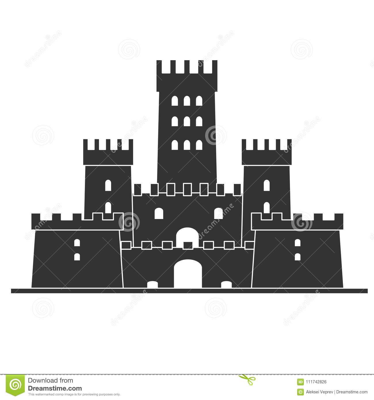 Medieval Castle Icon Vector . Castle Tower Silhouette In A Flat ...