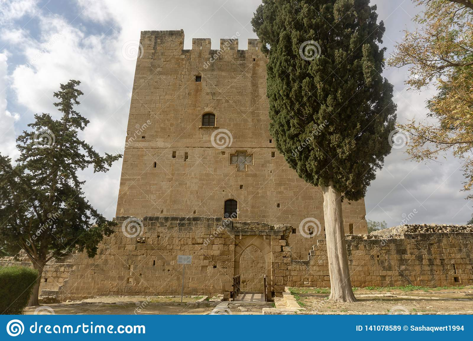Kolossi, Limassol/Cyprus - January 2019: The medieval castle of Kolossi near Limassol in Cyprus.