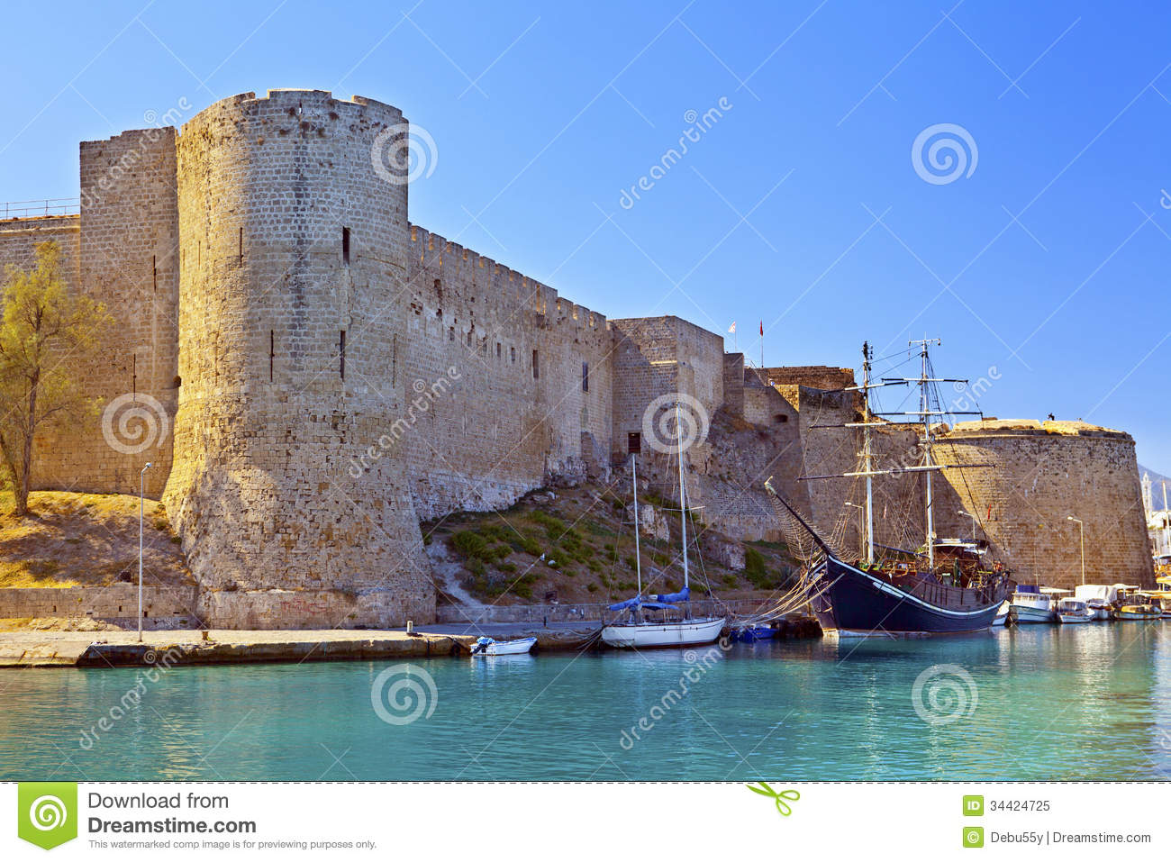 Medieval Castle In The Old Harbour In Kyrenia, Cyprus ...