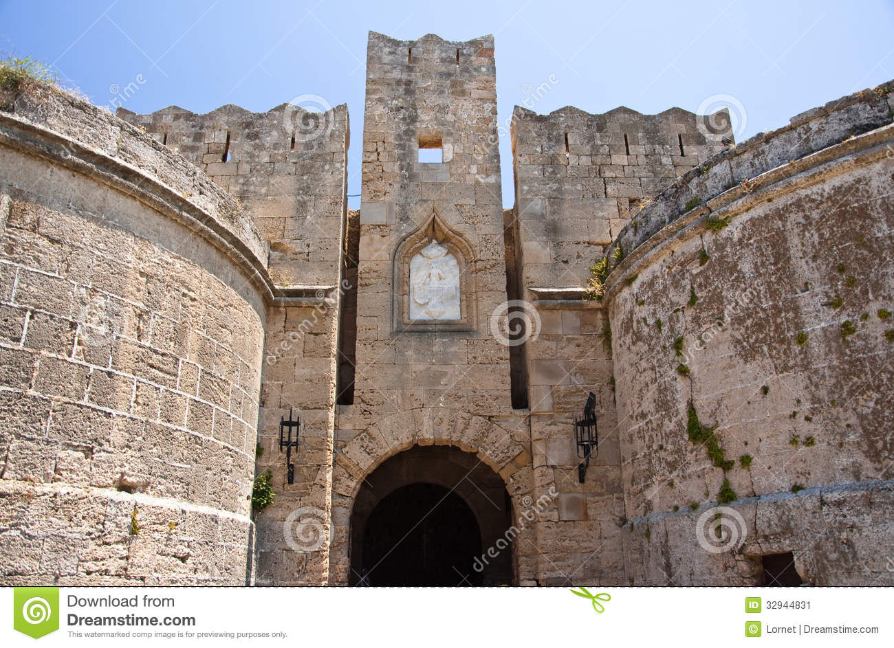 Medieval Castle In Old Town Of Rhodes, Greece. Stock Image ...