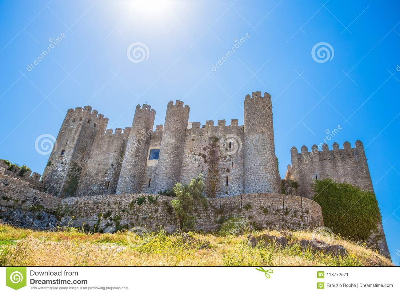 Medieval castle in the portuguese village of Obidos/ Castle/ fortress/ Portugal