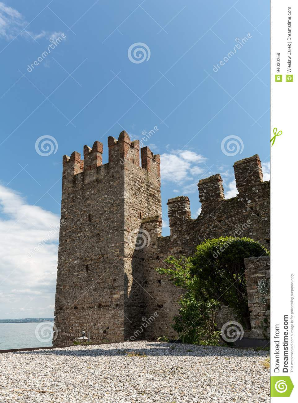 Medieval castle Scaliger in old town Sirmione on lake Lago di Garda.