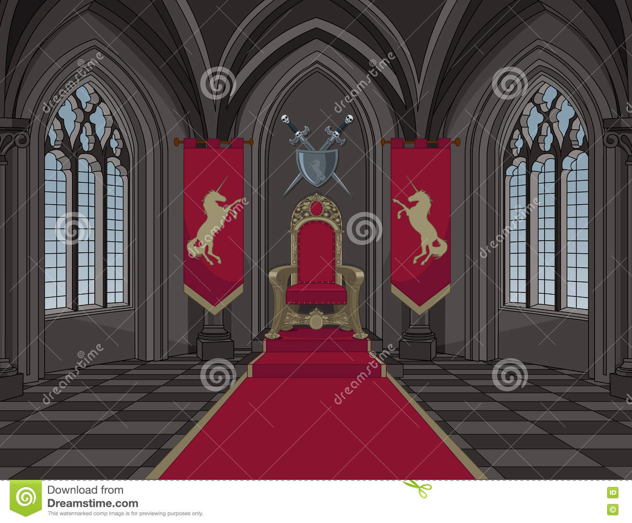 Medieval Castle Throne Room Stock Vector Image 82231985