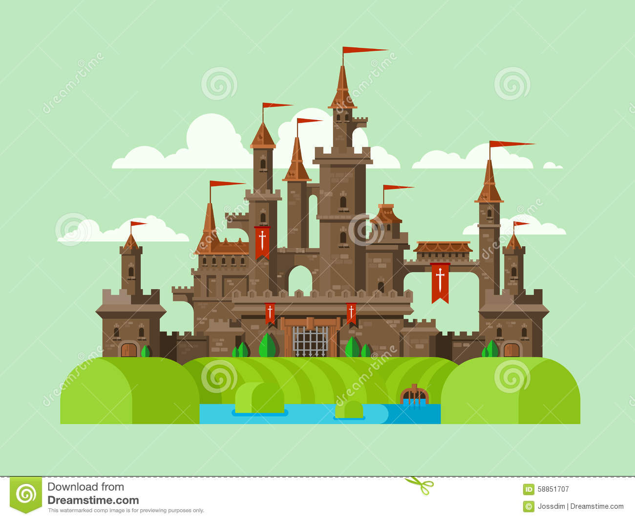 Medieval Castle Stock Vector Image 58851707