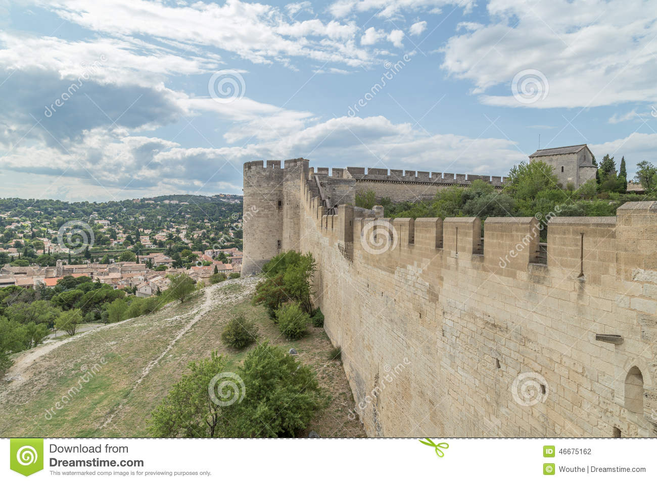 Medieval Castle Walls Rampart Of Fort Saint-Andre Stock ...