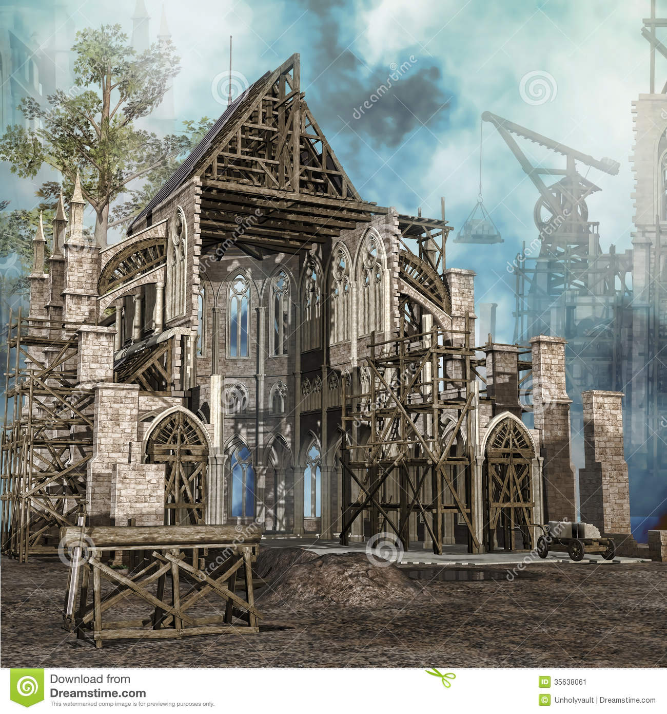 Medieval Cathedral In Construction Stock Image - Image: 35638061