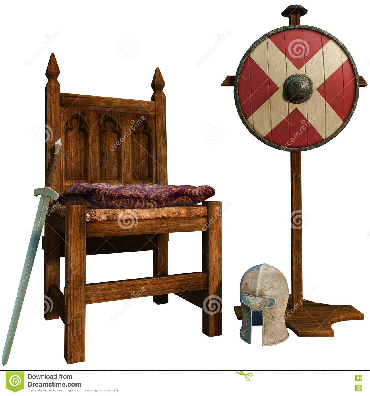 3D render of a medieval chair sword helmet and shield  sc 1 st  Dreamstime.com : medieval chair - lorbestier.org