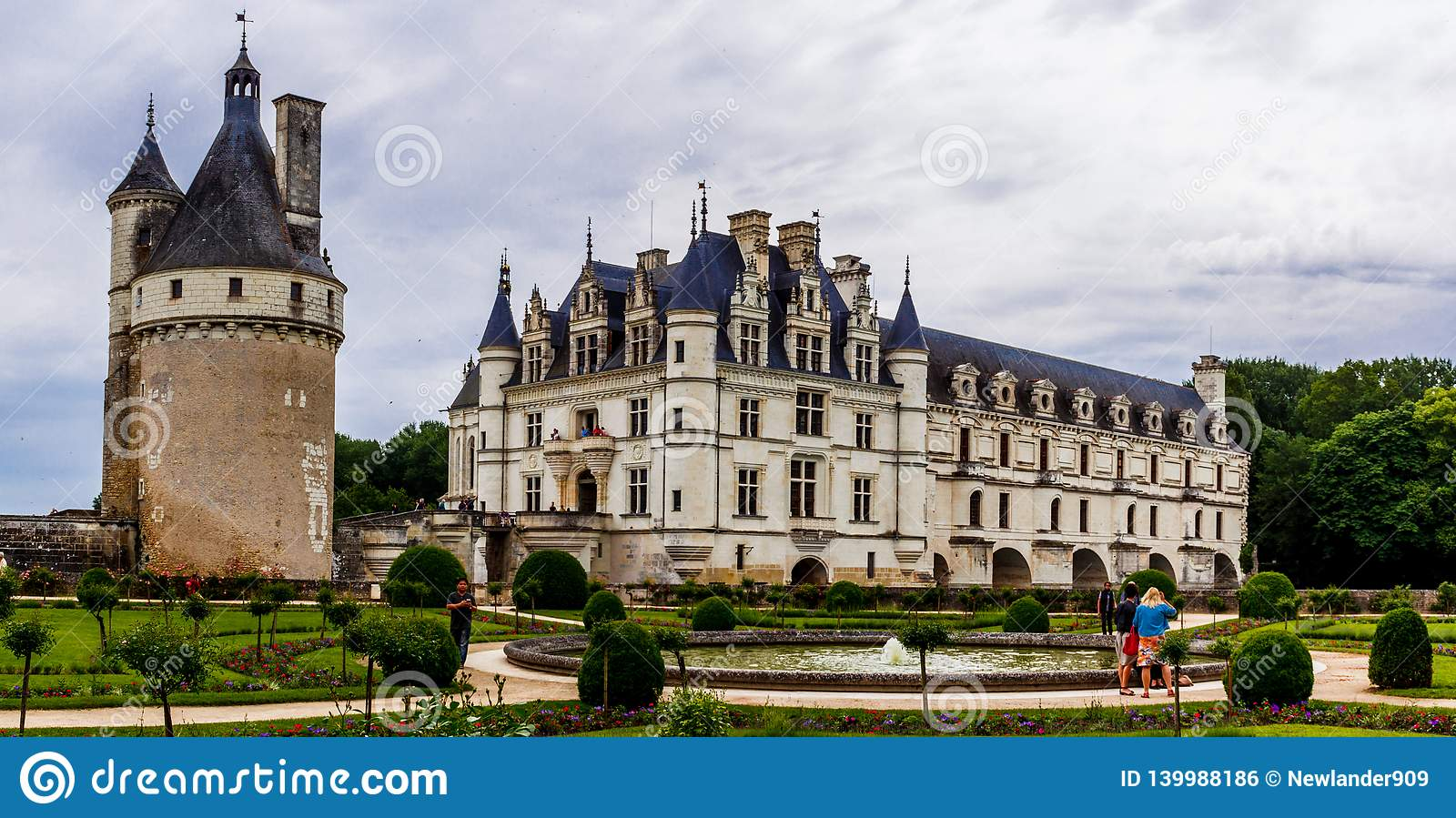 Medieval Chateau de Chenonceau spanning River Cher in Loire Valley in France.