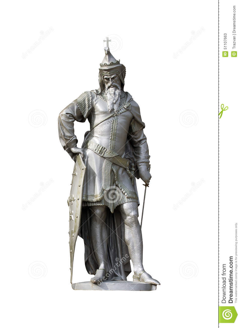 Medieval Christian king statue isolated on white