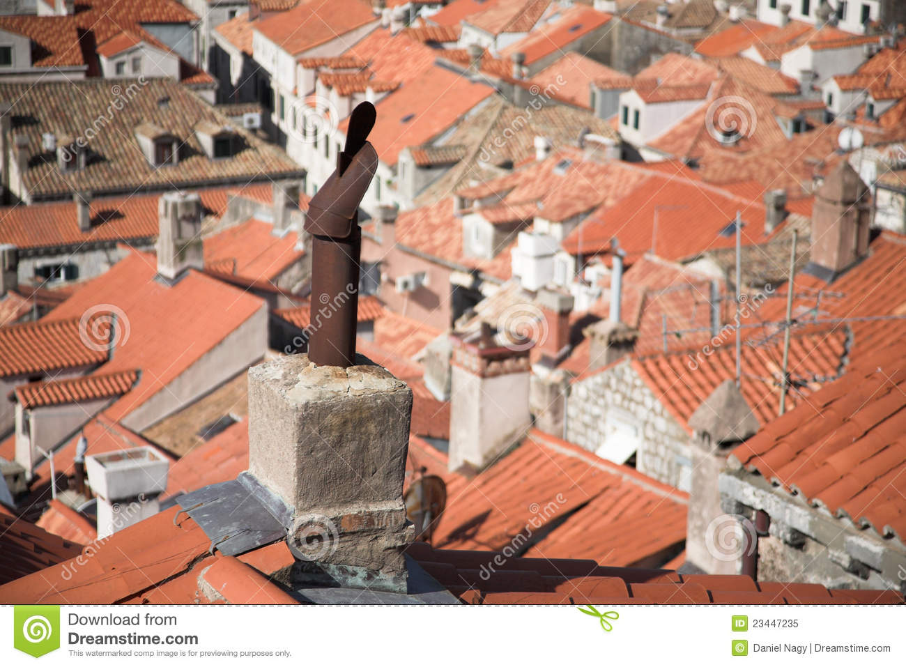 Medieval City View Rooftops And Chimneys Tiles Stock
