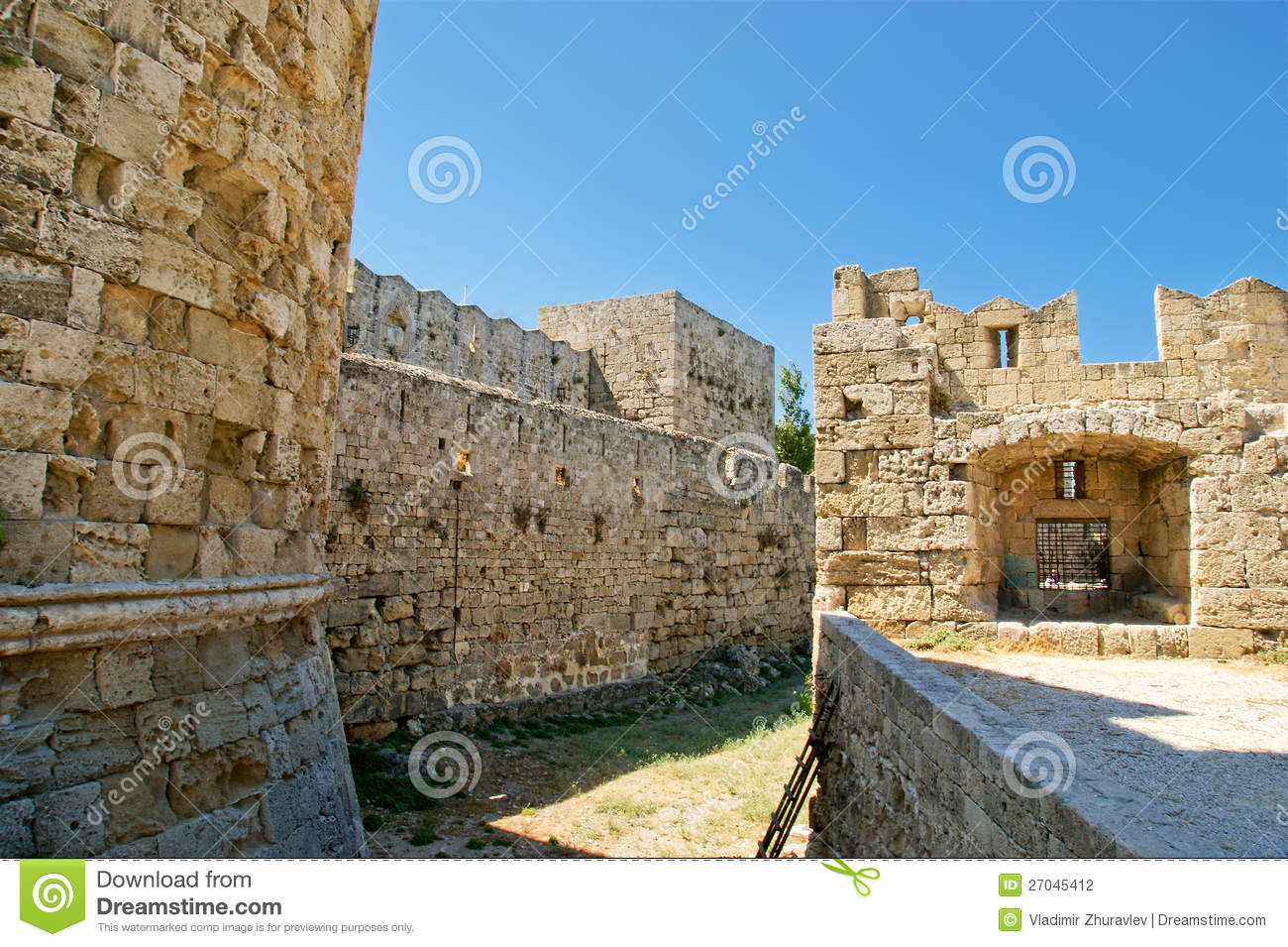 Medieval City Walls In Rhodes Town, Greece Stock ...