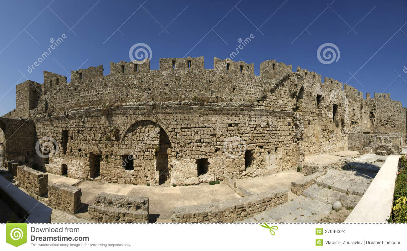 Medieval City Walls In Rhodes Town, Greece Stock Images ...