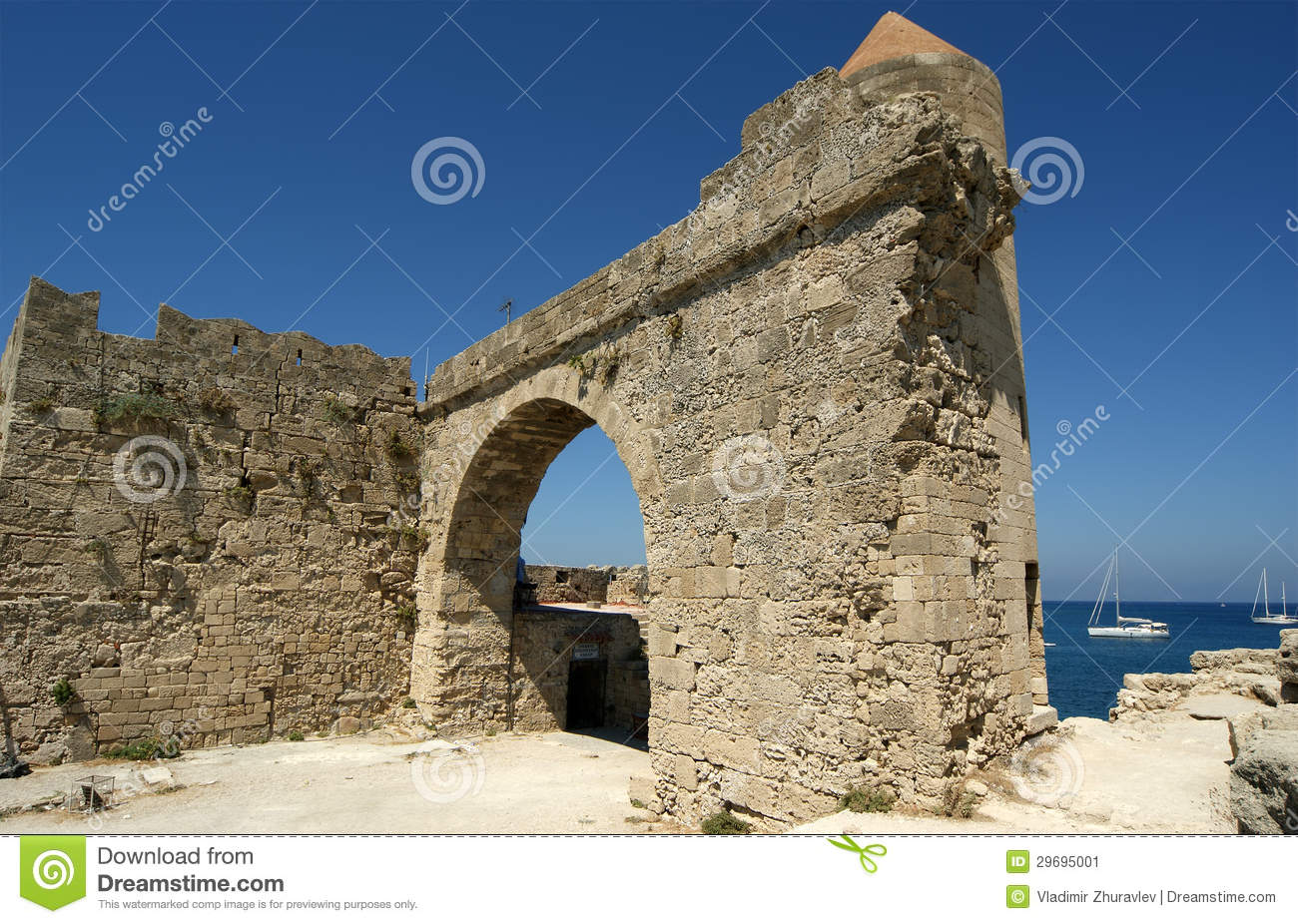 Medieval City Walls In Rhodes Town, Greece Stock Image ...