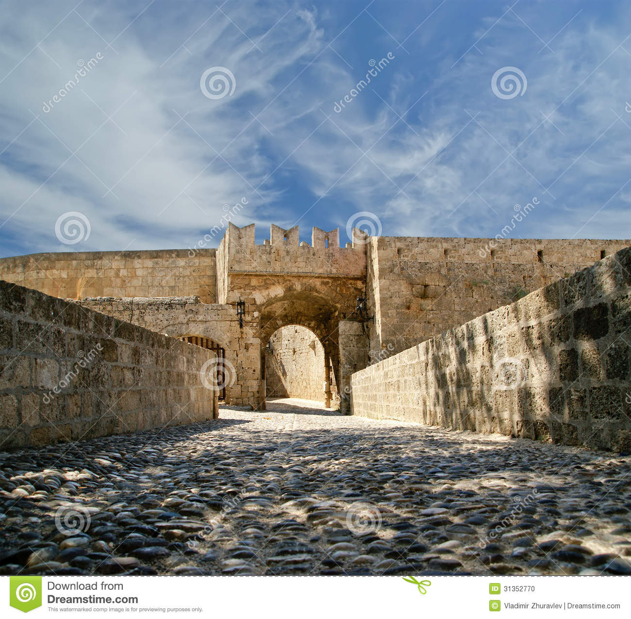 Medieval City Walls In Rhodes Town, Greece Stock Photo ...