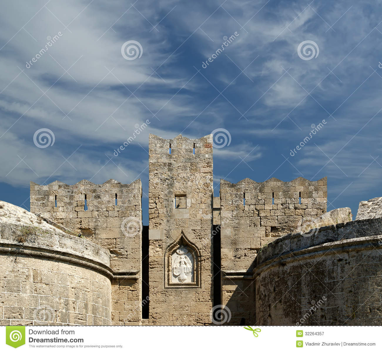 Medieval City Walls In Rhodes Town, Greece Royalty Free ...