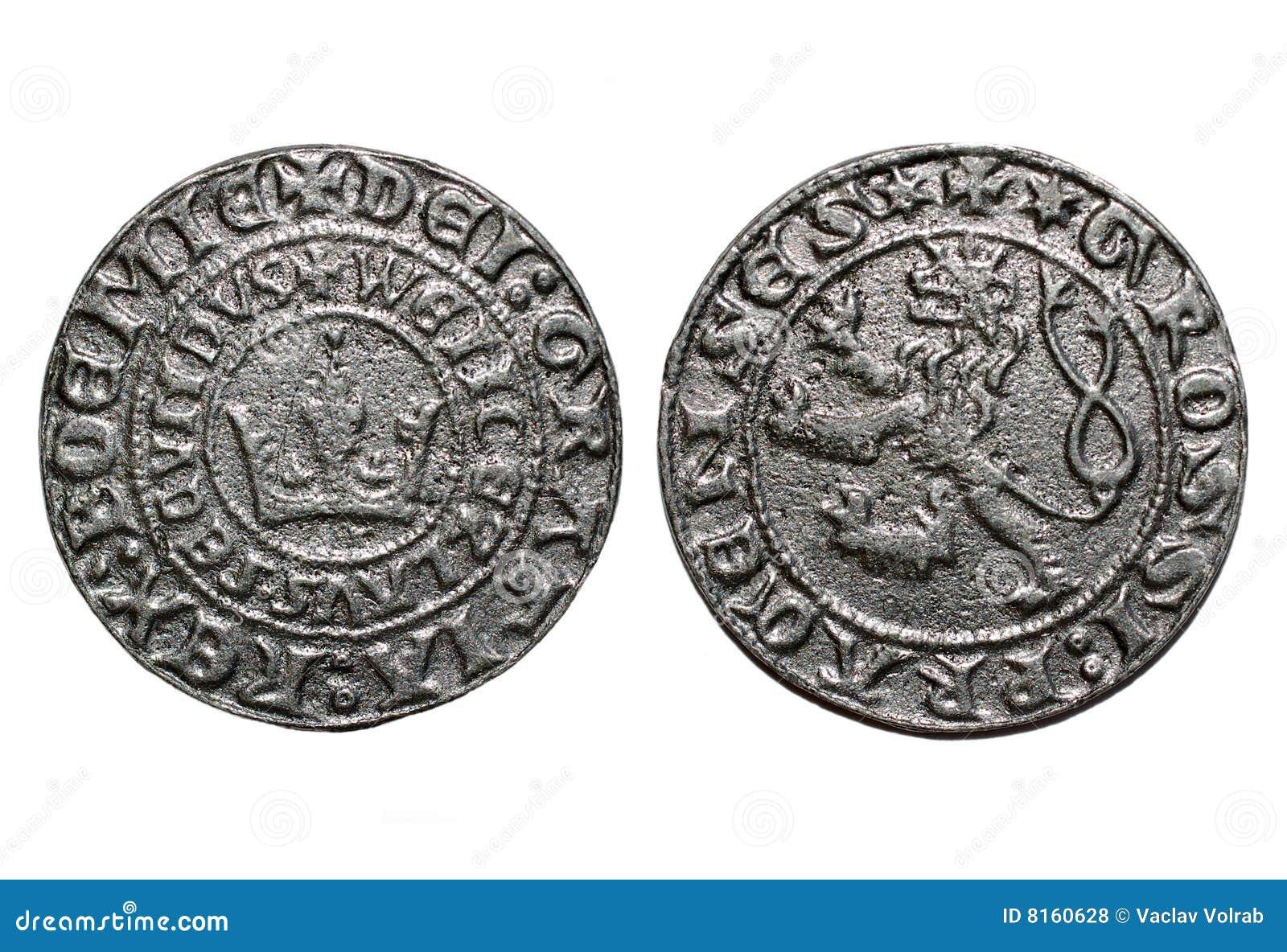 Medieval Coin Prague Groschen 700 Years Old Coin Royalty Free Stock Photos