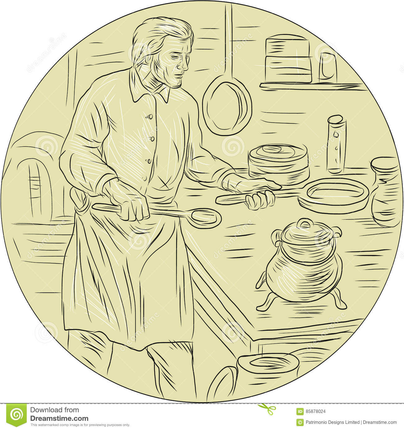 Medieval Cook Kitchen Oval Drawing Stock Illustration