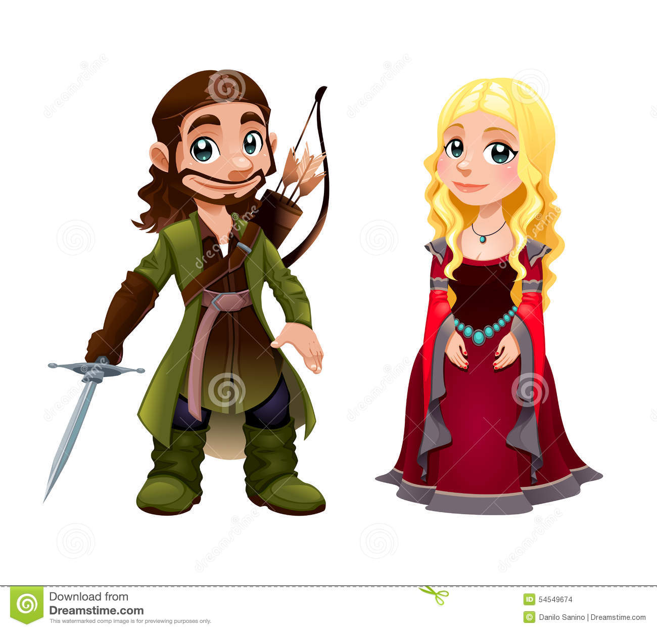 Medieval Couple: Knight And Princess Stock Vector ...